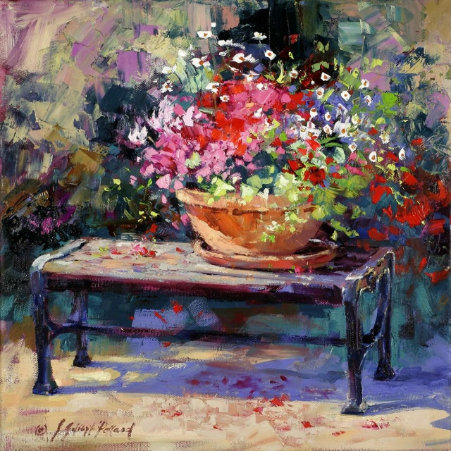 Color Bowl on Park bench by Julie Gilbert Pollard - oil on canvas 24X20