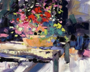 Color Bowl - A fast Plein Air study by Julie Gilbert Pollard, oil on canvas 12x12