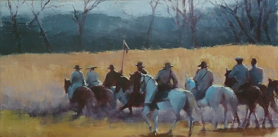 Band of Brothers by Shirley Fachilla - oil - 12X24