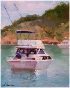 California Boat Scene by Linda Nearon - Oil - 14X11