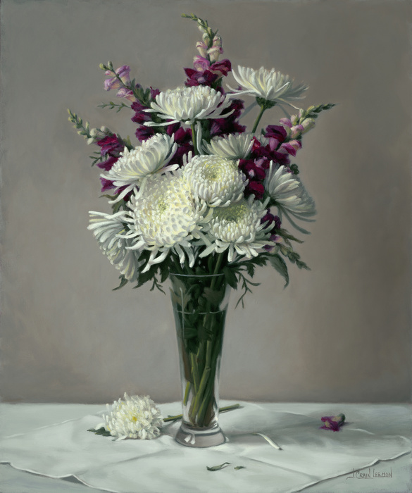 Mums & Snap Dragons by Leemon Jeanne Crain - Oil 24X20 Award of Excellence Recipient in NOAPS Fall International Online Exhibit