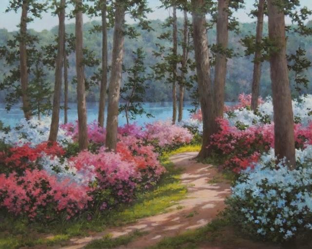Favorite Azaleas by Barbara Nuss Oil, 24X30