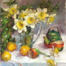 Daffodils at Tea by Barbara Schilling - www.barbaraschilling.com