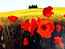 Poppies Under the Tuscan Sun by JoeRay Kelley - www.joesfineart.com