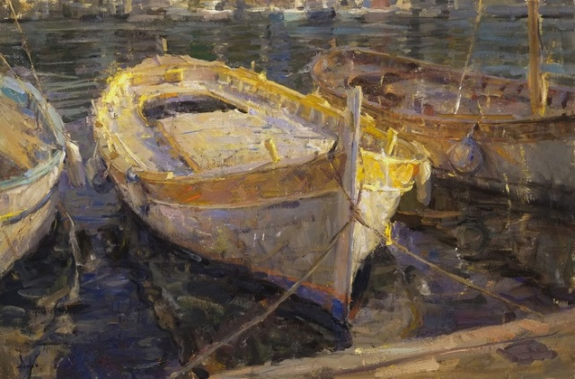 Boats in Villefranche, France by Derek W Penix Oil on linen 24X36