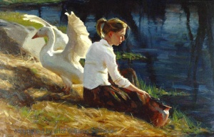 Evening Chore by Signature Artist William Schneider. This painting illustrated the cover of the 2008 Best of America Catalog