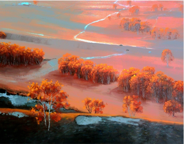 """Northern Autumn"" by Charles Redwood, oil 60x80"
