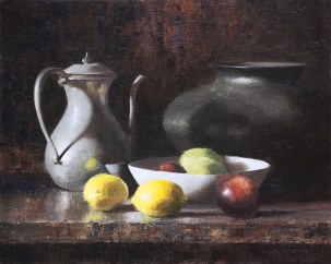 NOAPS Cutter LemonsApplesAndPitcher_16x20_Oil_PrivateCollection