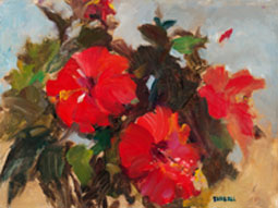 NOAPS red hibiscus 9x12farrell-red-flowers-cc-canv