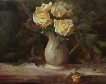 NOAPS jeff wells white roses 16x20