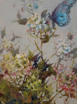 NOAPS Hardy Blue Butterfly and Geraniums , Oil, 16 x 12, Holder Dane Gallery