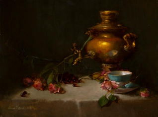 NOAPS Hardy Samovar and Reflective Cup , Oil, 16 x 20, private collection
