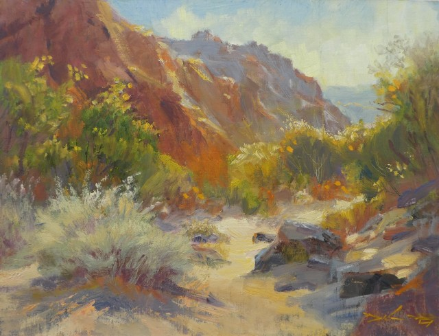 NOAPS Delanty_SNOW CANYON WASH, 12x16, oil on board, 12 17 RR