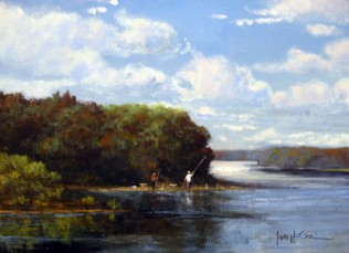 NOAPS Orr Fishing the Delaware 9x12 Highlands art gallery Lambertville NJ
