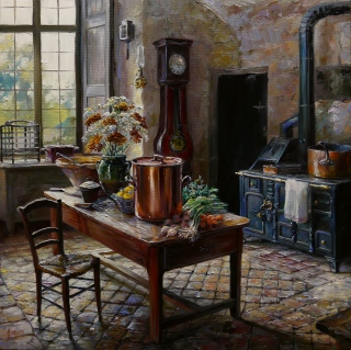 NOAPS Lindsay Goodwin- Gatherings from the Garden, Chateau Bridoire 16x16