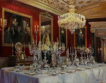 NOAPS Lindsay Goodwin- Set for Receiving Royalty, Chatsworth House 14x18