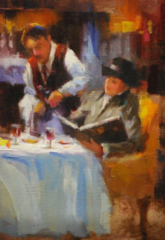 NOAPS Johnson The Waiter 8 x 10 Oil, Private Collection