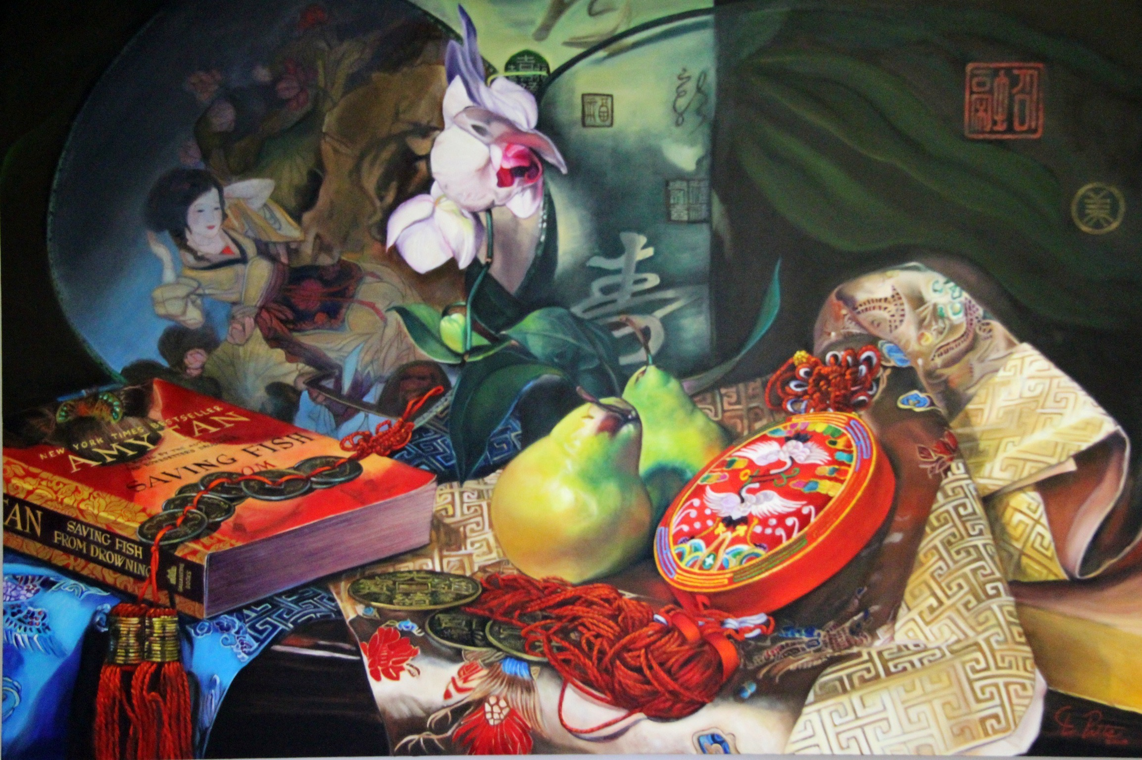 NOAPS Pitts East Meets West-Chi Fusion Series, oil on canvas, 48x72 inches, collection of the artist